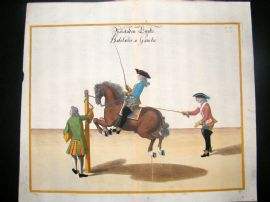 Cavendish Equestrian Dressage 1700 Antique Hand Colored Horse Print 76
